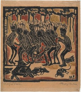 Kangaroo dance and pointing the bone. Margaret Preston. 1957