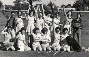 In my old life I was very active:  long distance running, body surfing, dancing, tennis and pool! (Here I am in the hockey team, far left, bottom row, bad perm).