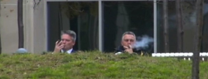 The Australian Treasurer Joe Hockey, right,  and the Australian Finance Minister Mathias Cormann share a cigar two days before they deliver a budget tough on us chronically ill ex-smokers. Priceless!