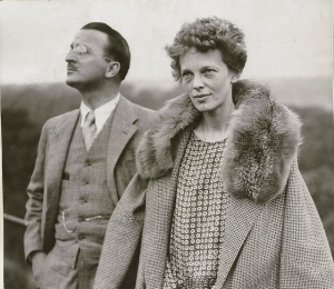 Amelia Earhart  and her navigator Fred Noonan are captured on film before launching their doomed mission.